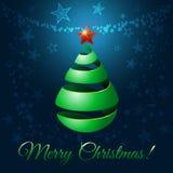 Albero di nastro di Natale, illustrazione di saluto di vettore Fotografie Stock Libere da Diritti