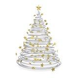 albero di Natale 3D fatto delle spirali e delle stelle di oro del metallo royalty illustrazione gratis