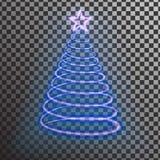 Albero di Natale al neon blu Effetto leggero dell'albero con la grande stella Fotografia Stock