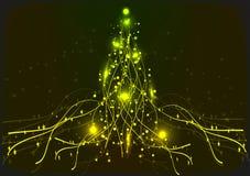 Albero di Natale al neon giallo Fondo Fotografia Stock Libera da Diritti