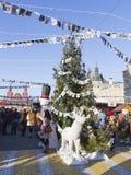 Albero di Natale al quadrato rosso giusto Fotografia Stock Libera da Diritti