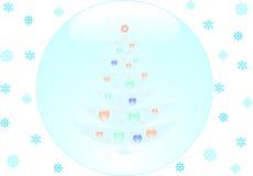 Albero di Natale all'interno dell'fiocchi di neve Immagini Stock
