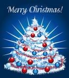 Albero di Natale allegro della neve. Fotografia Stock Libera da Diritti