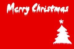 Albero di Natale allegro su colore rosso Fotografie Stock