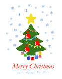 Albero di Natale astratto con i regali - illustrazione piana Fotografie Stock Libere da Diritti