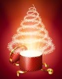 Albero di Natale astratto dal contenitore di regalo Immagini Stock