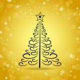 Albero di Natale astratto del profilo sul fondo brillante dell'oro Fotografia Stock Libera da Diritti