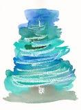 Albero di Natale astratto dipinto a mano Fotografia Stock Libera da Diritti