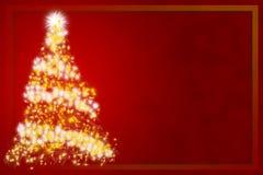 Albero di Natale astratto su priorità bassa rossa Fotografia Stock Libera da Diritti