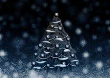 Albero di Natale blu in neve Fotografie Stock Libere da Diritti