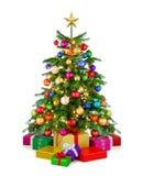 Albero di Natale brillante con i contenitori di regalo fotografia stock