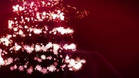 Albero di Natale brillante su fondo rosso Colore magico dell'albero Illuminazione di inverno di Natale Animazione del ciclo illustrazione vettoriale