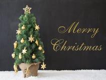 Albero di Natale, Buon Natale del testo, calcestruzzo nero Immagini Stock