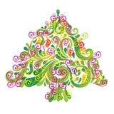 Albero di Natale. Cartolina d'auguri. Immagini Stock