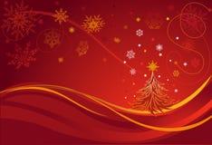 Albero di Natale. Cartolina d'auguri. Cenni storici rossi. Fotografia Stock Libera da Diritti