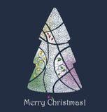 Albero di Natale Cartolina d'auguri di Buon Natale Immagine Stock Libera da Diritti