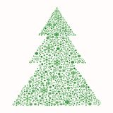 Albero di Natale composto degli elementi e dei fiocchi di neve multipli royalty illustrazione gratis