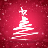 Albero di Natale con fondo scintillante rosso Immagini Stock Libere da Diritti