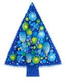Albero di Natale con gli ornamenti, Fotografia Stock