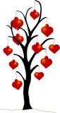 Albero di Natale con gli ornamenti del cuore Fotografie Stock Libere da Diritti