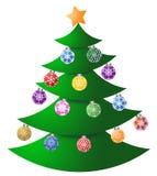 Albero di Natale con gli ornamenti variopinti Immagini Stock