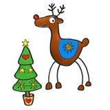 Albero di Natale con i cervi Fotografie Stock Libere da Diritti