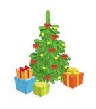 Albero di Natale con i contenitori di regalo Illustrazione di Stock