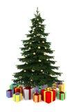 Albero di Natale con i contenitori di regalo di colore isolati Immagini Stock