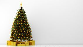 Albero di Natale con i contenitori di regalo nella stanza bianca illus 3d illustrazione di stock
