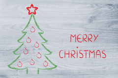 Albero di Natale con i desideri di festa Fotografie Stock Libere da Diritti