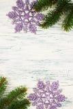 Albero di Natale con i fiocchi di neve Fotografia Stock