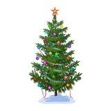 Albero di Natale con i giocattoli e le ghirlande Immagine Stock