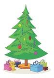 Albero di Natale con i giocattoli ed i contenitori di regalo Immagine Stock