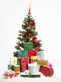 Albero di Natale con i presente variopinti Immagine Stock