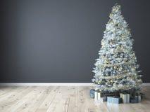 Albero di Natale con i regali rappresentazione 3d Fotografia Stock