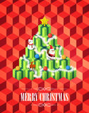 Albero di Natale con il concetto dei regali, stile isometrico dei cubi su fondo rosso, vettore Immagine Stock