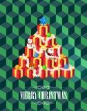Albero di Natale con il concetto dei regali, stile isometrico dei cubi su verde, fondo, vettore Immagini Stock Libere da Diritti