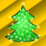Albero di Natale con il confine dorato, fiocchi di neve Immagine Stock
