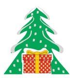 Albero di Natale con il contenitore di regalo Immagini Stock Libere da Diritti