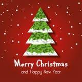 Albero di Natale con il fiocco di neve, fondo rosso per la cartolina d'auguri, fondo, vettore Immagine Stock