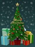 Albero di Natale con il lotto del presente, illustrazione 3D Fotografia Stock Libera da Diritti
