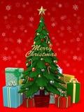 Albero di Natale con il lotto del presente, illustrazione 3D Fotografie Stock