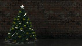 Albero di Natale con il muro di mattoni Fotografia Stock Libera da Diritti