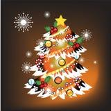 Albero di Natale con il Natale fondo ed il vettore della cartolina d'auguri Illustrazione Vettoriale