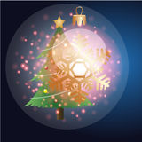 Albero di Natale con il Natale fondo ed il vettore della cartolina d'auguri Illustrazione di Stock