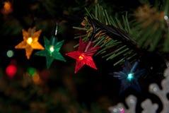albero di Natale con il nuovo anno delle luci fotografie stock