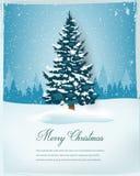 Albero di Natale con il paesaggio nevoso di inverno Priorità bassa di festa Buon Natale e buon anno Vettore fotografia stock