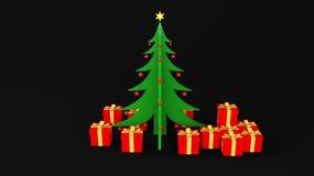 Albero di Natale con il regalo Fotografia Stock Libera da Diritti
