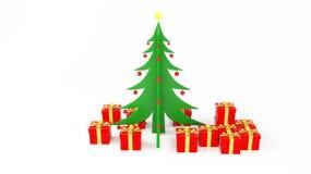 Albero di Natale con il regalo Fotografie Stock