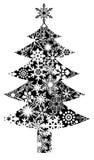 Albero di Natale con il reticolo dei fiocchi di neve Immagine Stock Libera da Diritti